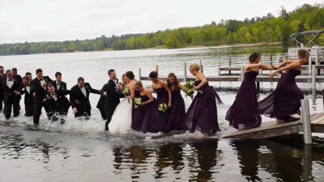 Wedding party takes a big plunge