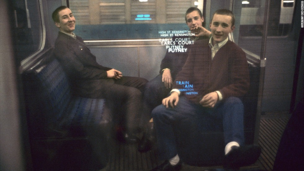 "Mazzer likes this ""lads"" image as it flips what could have been seen as a threatening group into a friendly one. ""They were the tail end of the mods,"" Mazzer says. ""I poked the camera at them and they just beamed at me, and what can you do, you have to photograph them."""