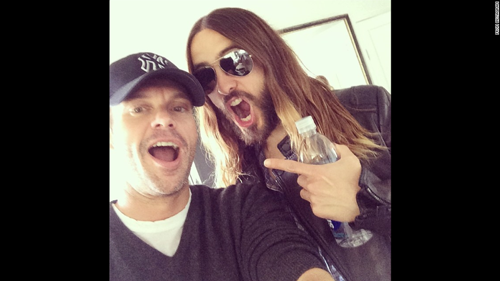 """Look whose hair dropped by @AmericanTop40 this weekend,"" wrote television host Ryan Seacrest, posting this shot of him and actor Jared Leto to <a href=""http://instagram.com/p/oqxhg-FWVR/"" target=""_blank"">his Instagram account</a> on Saturday, May 31."