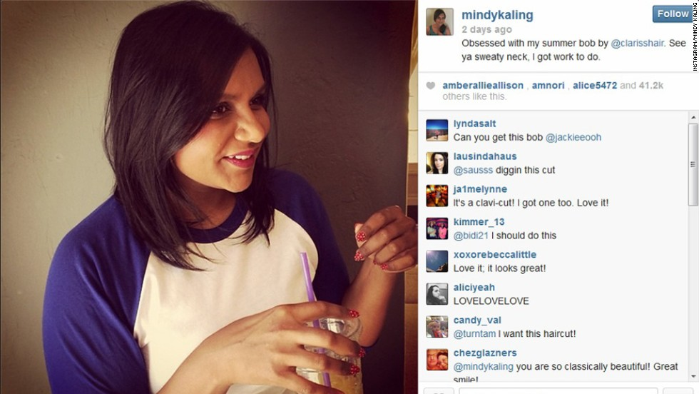 "Mindy Kaling is welcoming in summer with a new haircut. On June 2, the actress/writer/producer posted a picture of her ""summer bob"" on Instagram with the caption, ""See ya sweaty neck, I got work to do."""