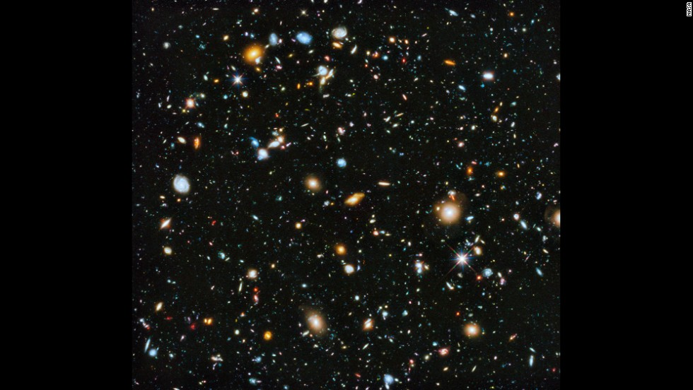 Astronomers using the Hubble Space pieced together this picture that shows a small section of space in the southern-hemisphere constellation Fornax. Within this deep-space image are 10,000 galaxies, going back in time as far as a few hundred million years after the Big Bang.
