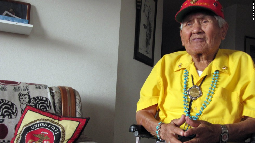 "Nez, seen at his home in 2009, told his story in his book, ""Code Talker."" He said he decided to tell his story because he wanted to share the contributions and sacrifices of the Navajo during World War II."