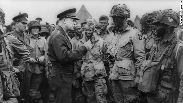 Eisenhower speaks with U.S. Army paratroopers in England just before they were deployed to land behind enemy lines on D-Day.