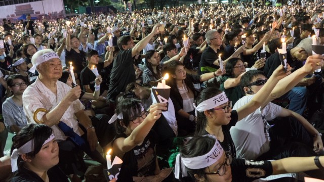 Scenes from Tiananmen vigil in Hong Kong