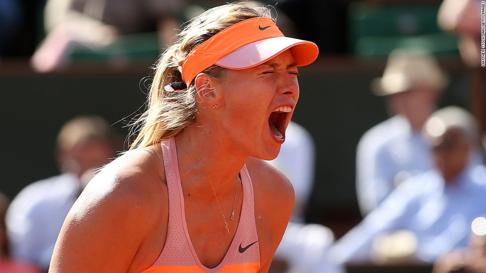 Maria Sharapova in typical pose on her way to winning her semifinal match against Eugenie Bouchard at the French Open.