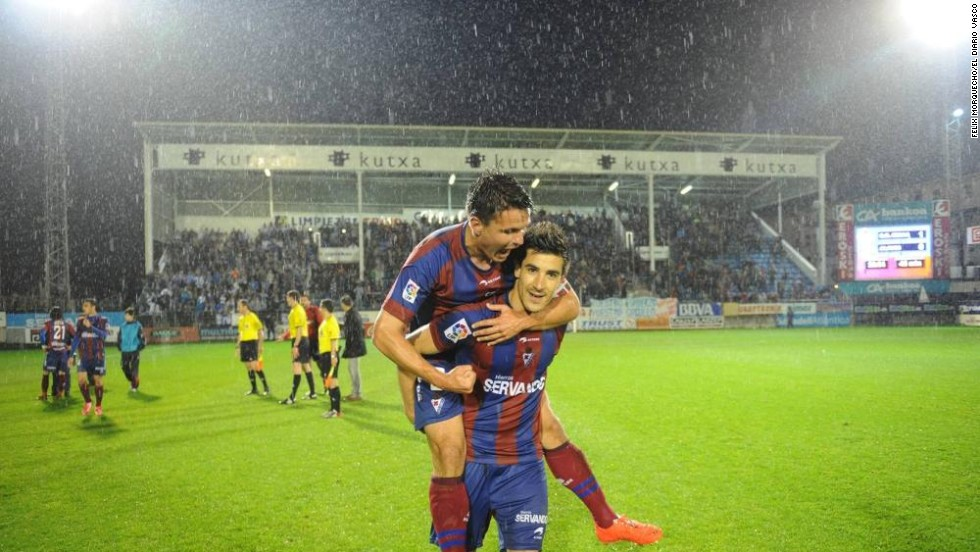 "Local journalist Mikel Madinabeitia told CNN: ""It's a typical rags to riches story. I wrote in my newspaper Eibar has been the D'Artagnan of the second division, with that famous catchphrase 'All for one and one for all.' There are no celebrities in this team, no millionaires.""<br />"