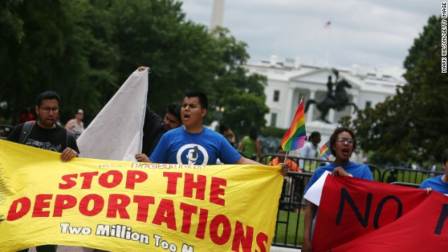 WASHINGTON, DC - JUNE 05: Carlos Padilla (C) with the United We Dream coalition, participates in a protest near the White House, June 5, 2014 in Washington, DC. The group is protesting what they said is President Obama's decision to delay the deportation review he ordered from the Homeland Security Department.