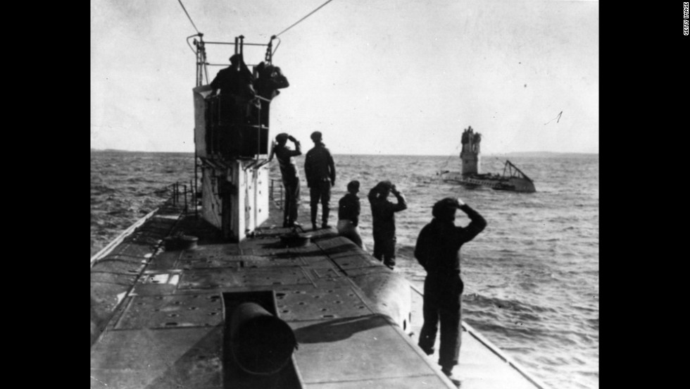 German U-boats, or submarines, patrol the Mediterranean coast.