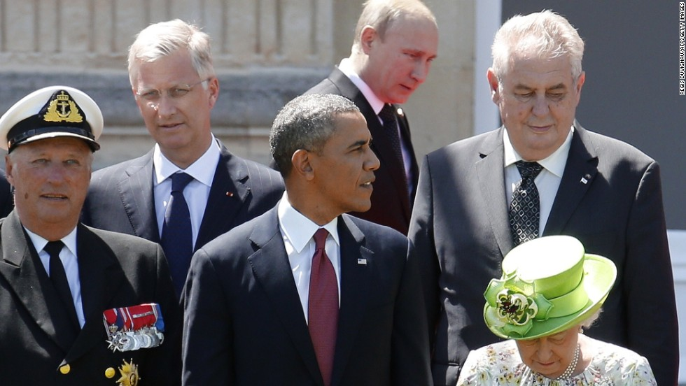 Obama, Putin come face-to-face in France at D-Day event