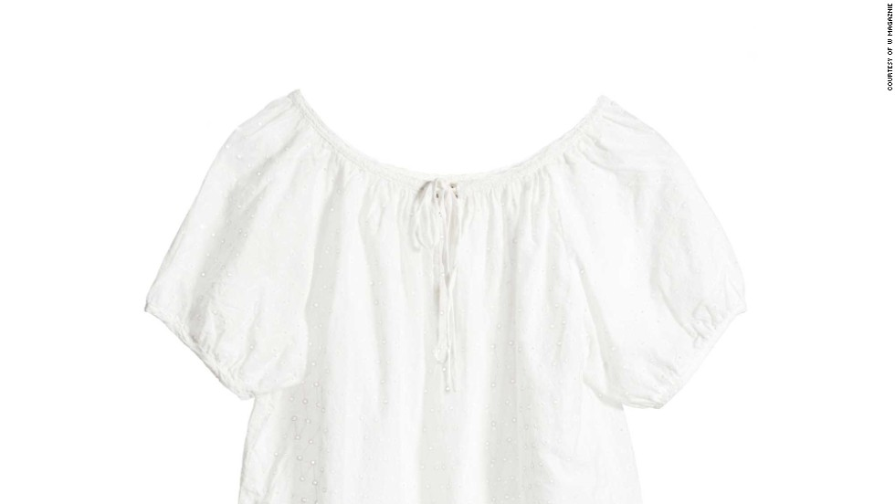 "A sweet, feminine white blouse that looks great with jean shorts is at the top of the list. NilI Lotan Shrunken Rebecca Top-Eyelet, <a href=""nililotan.com"" target=""_blank"">nililotan.com</a>"