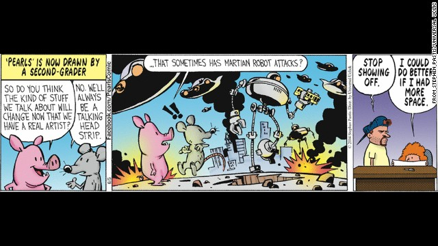 "Bill Waterson, of ""Calvin and Hobbes"" fame, is filling in for illustrator Stephen Pastis for the comic ""Pearls before Swine."""