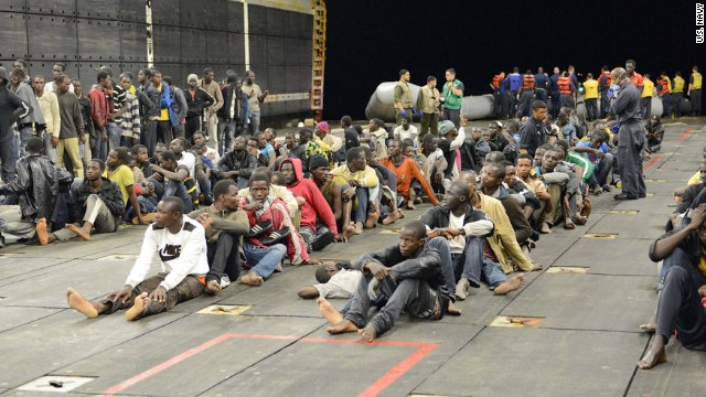 U.S. Navy rescues 282 from sinking boats