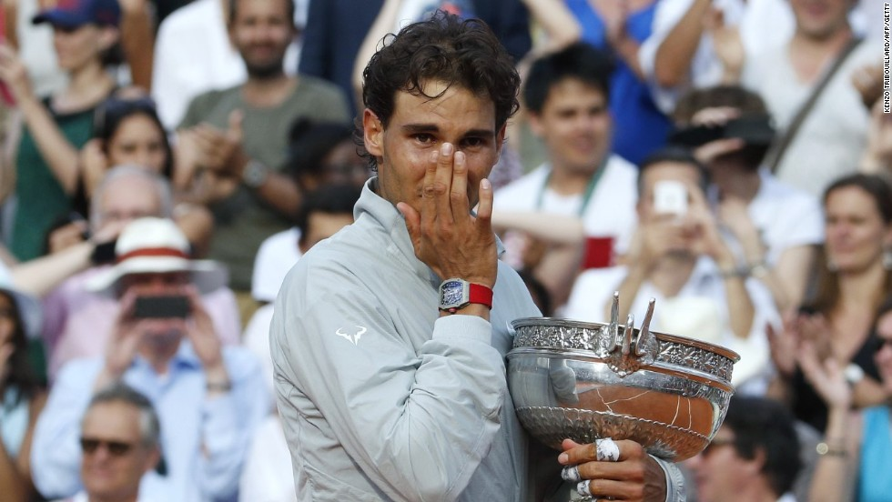 The emotion shows as Nadal gets his hands on the French Open title for an unprecedented ninth time.