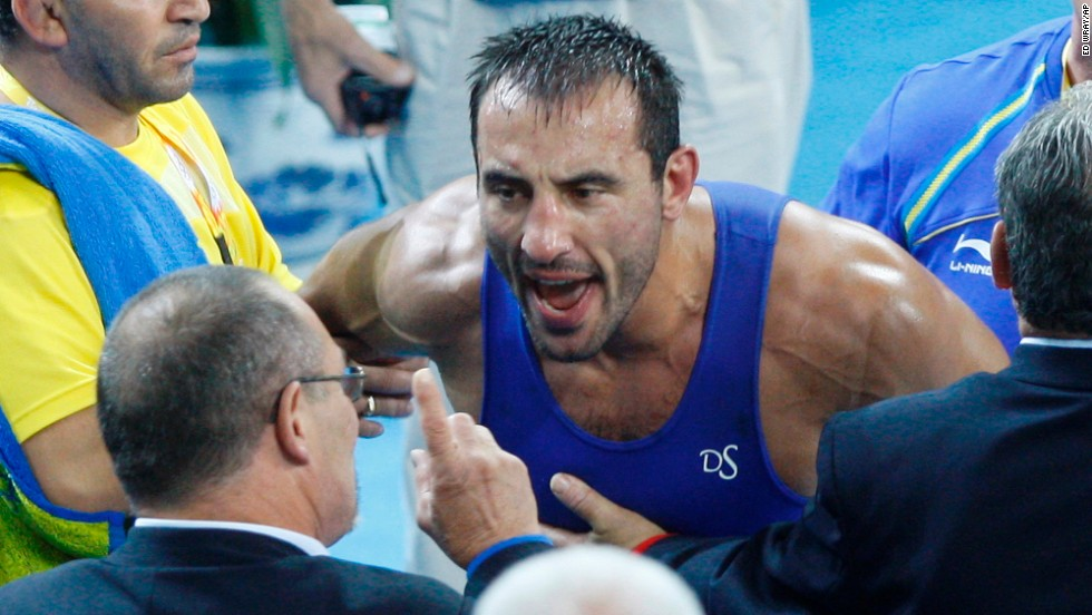 <strong>Ara Abrahamian: </strong>The Swedish Greco-Roman wrestler threw a fit after losing to an Italian opponent at the 2008 Olympics. He shouted at the referee, confronted the judges and had to be restrained by teammates. After winning his next match, Abrahamian grudgingly mounted the podium to accept his bronze medal, which he took off and left at the center of the competition mat.