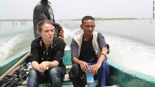 Arwa Damon heads out on Lake Chad, part of her assignment to cover schoolgirls seized by Boko Haram in Nigeria