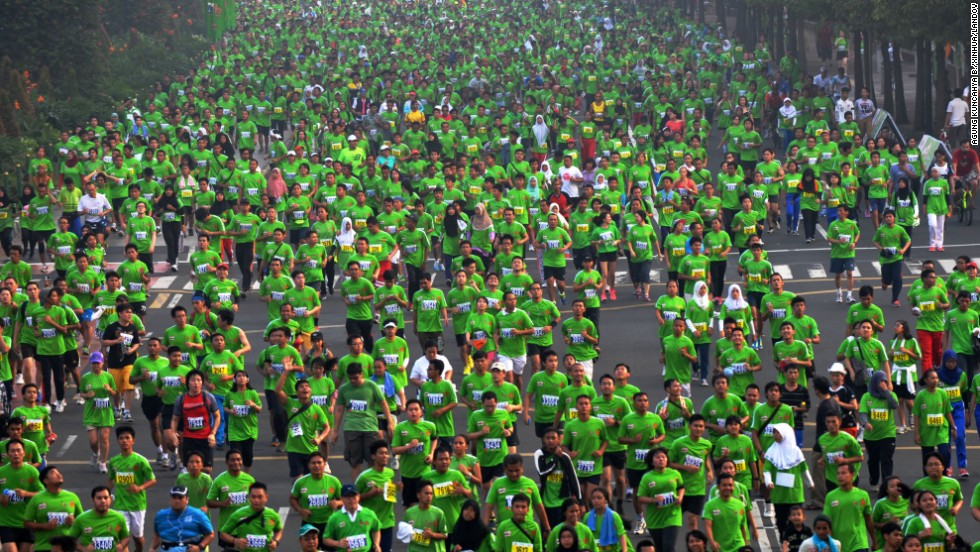 Runners participate in the Jakarta International 10K in Jakarta, Indonesia, on Sunday, June 8.