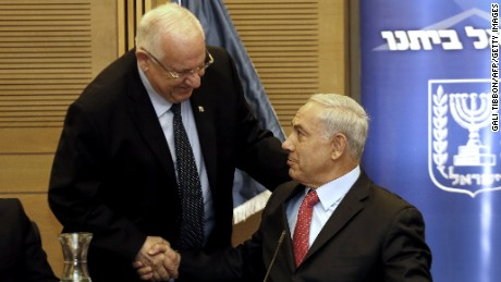 Israeli PM Benjamin Netanyahu, right, is shown with President Reuven Rivlin at the Knesset in June 2014.