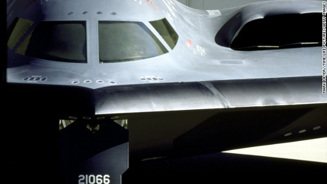 A front view of a B-2 Spirt stealth bomber.