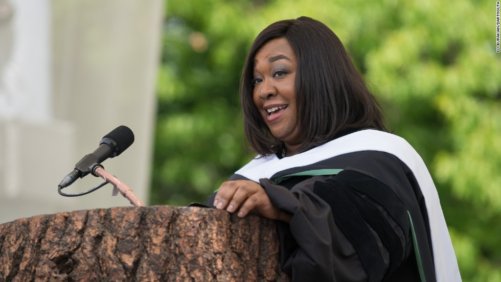 "The creator of ""Scandal"" and ""Grey's Anatomy"" spoke at Dartmouth College's commencement on June 8. ""Whenever you see me somewhere succeeding in one area of my life, that almost certainly means I am failing in another area of my life,"" <a href=""http://www.cnn.com/video/?/video/us/2014/06/10/pkg-shonda-rhimes-dartmouth-graduation-speech.wcax&video_referrer="">she told the graduates</a>. Rhimes is a 1991 graduate of the college."