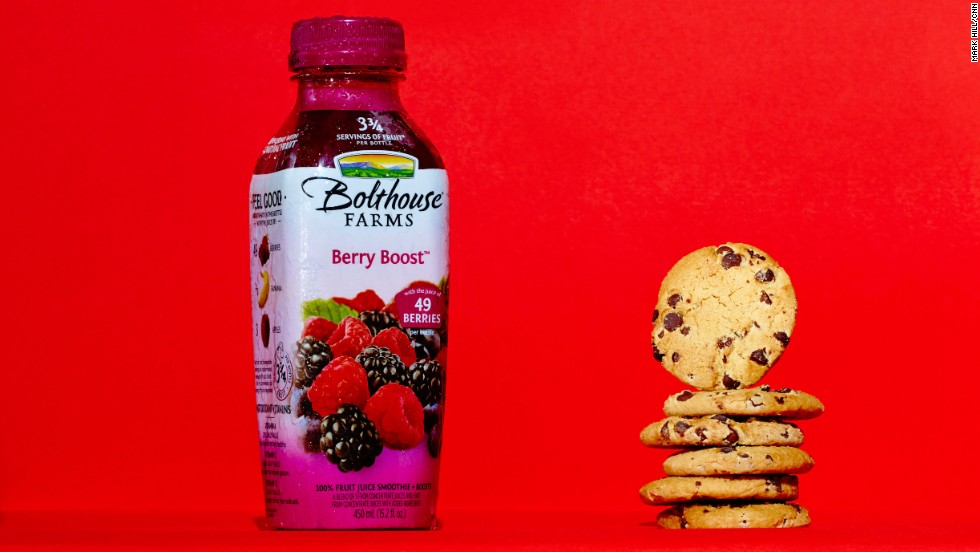 You'd consume 24 grams of sugar by drinking this Bolthouse Farms Berry Boost 15.2-ounce bottle -- or by eating six Chips Ahoy! cookies.