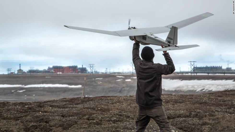 "An AeroVironment Puma drone undergoes pre-flight tests in Prudhoe Bay, Alaska, on June 7, 2014. The drone will be used to survey roads, pipelines and other equipment at the largest oil field in the United States. The Federal Aviation Administration authorized BP to conduct the <a href=""http://www.cnn.com/2014/06/10/us/faa-commercial-drone-approval/index.html"">first-ever commercial drone flights</a> over land."