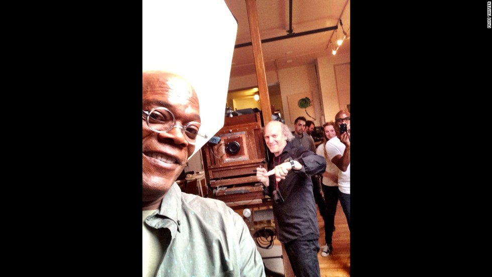 "Actor Samuel L. Jackson, left, tweeted this shot of him ""gettin photographed Old School"" by portrait photographer Timothy Greenfield-Sanders on Saturday, June 7."
