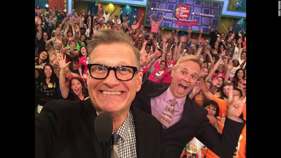 "People magazine <a href=""https://twitter.com/peoplemag/status/474574117148975106/photo/1"" target=""_blank"">tweeted this picture</a> of ""The Price Is Right"" audience behind host Drew Carey, left, and announcer George Gray on Thursday, June 5. ""It's #SociallyAwesomeWeek on @PriceIsRight. You picked where @DrewFromTV took a #selfie - here it is!"""