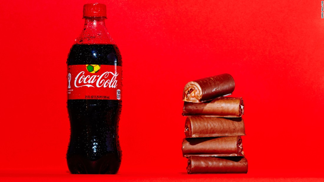 A 20-ounce bottle of Coca-Cola Classic contains 65 grams of sugar, which is the same amount of sugar found in five Little Debbie Swiss Rolls.