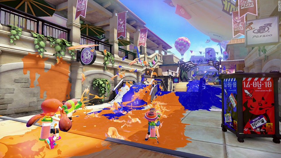"""Splatoon"" is a light-hearted game for Nintendo's Wii U, in which players are squid trying to claim their team's territory with ink."