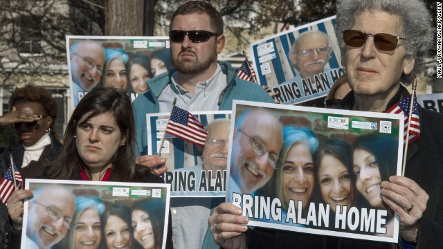 Supporters rally on behalf of imprisoned U.S. citizen Alan Gross in Lafayette Park in Washington.
