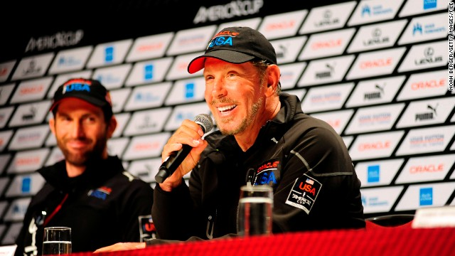 Oracle CEO Larry Ellison speaks at a media conference shortly after Oracle Team USA won the 34th America's Cup on September 25, 2013 in San Francisco. AFP PHOTO/Josh Edelson (Photo credit should read Noah Berger/AFP/Getty Images)