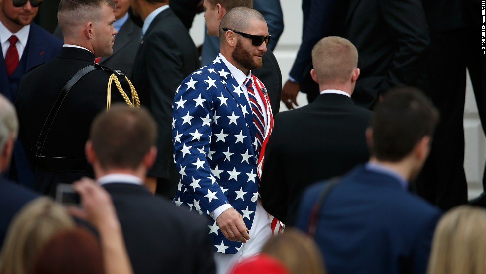Boston Red Sox player Jonny Gomes rocks an American flag suit at the White House, where U.S. President Barack Obama honored the team for winning the 2013 World Series.