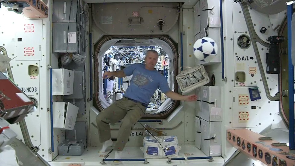 Watch astronauts play football in space - CNN Video