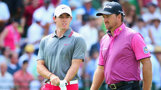 PINEHURST, NC - JUNE 12: (L-R) Rory McIlroy of Northern Ireland and Graeme McDowell of Northern Ireland walk onto the 13th tee during the first round of the 114th U.S. Open at Pinehurst Resort & Country Club, Course No. 2 on June 12, 2014 in Pinehurst, North Carolina. (Photo by Andrew Redington/Getty Images)