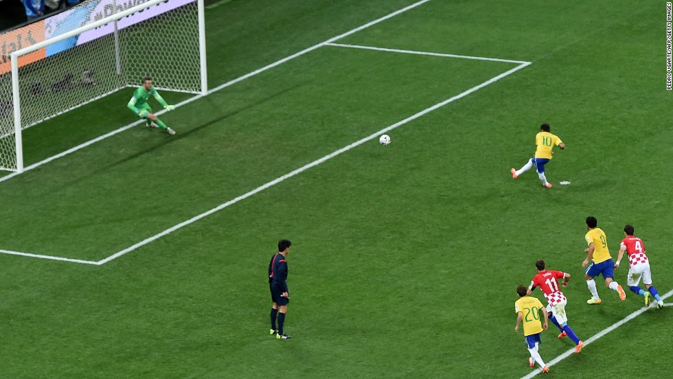 Neymar scores a penalty kick to give Brazil a 2-1 lead. It was Neymar's second goal of the match, which was played in Sao Paulo, Brazil.