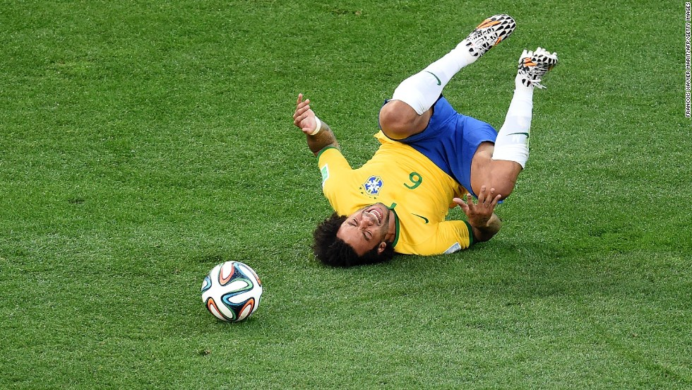 Brazilian defender Marcelo takes a fall.