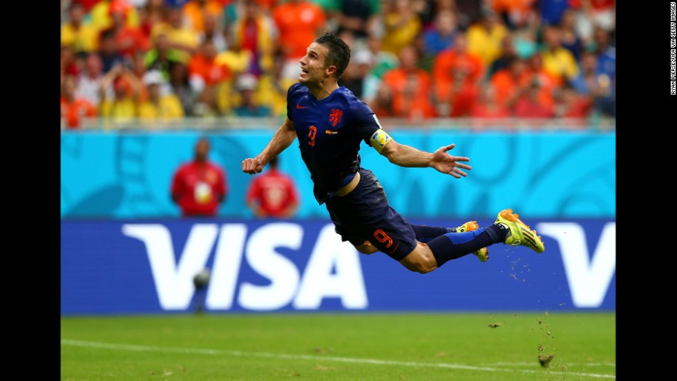Van Persie scored the Netherlands' first goal on a spectacular diving header in the first half.
