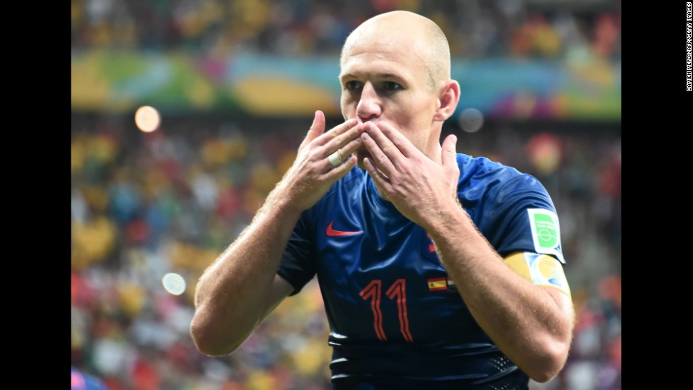 Robben gestures after scoring the final goal.
