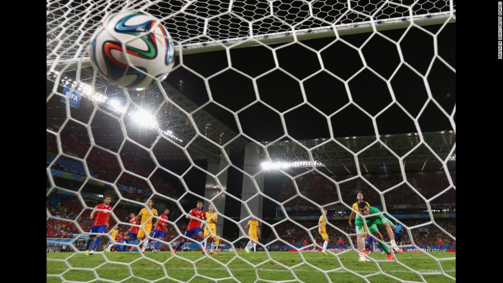 The ball bulges the back of the net after Chile's Jorge Valdivia scored in the 14th minute of the game. The goal came within two minutes of Chile's first goal.