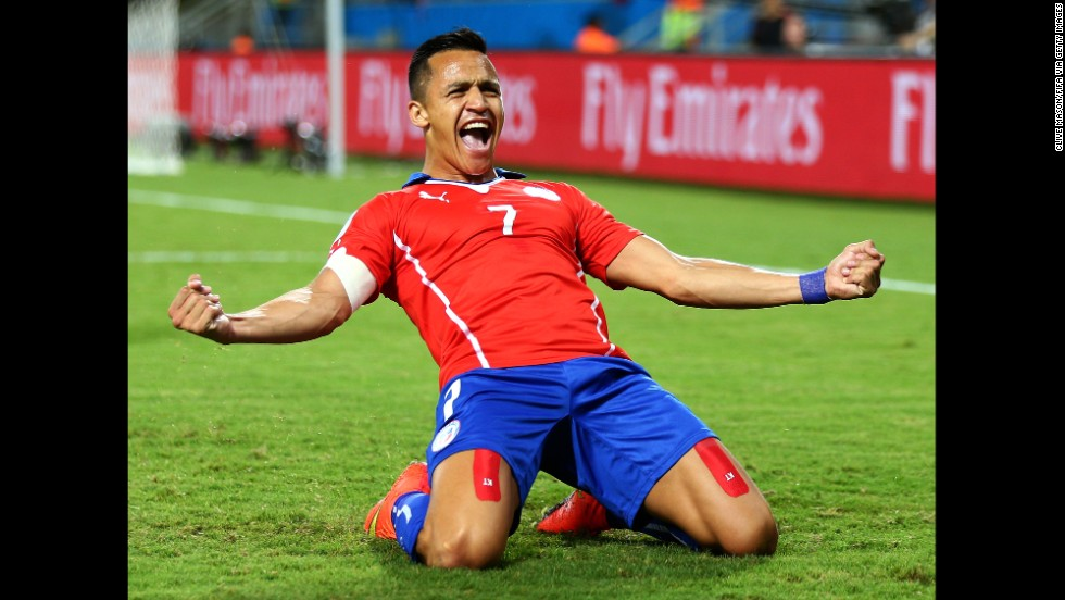 Chile's Alexis Sanchez scored the first goal in the game's 12th minute. He also assisted on Valdivia's goal.