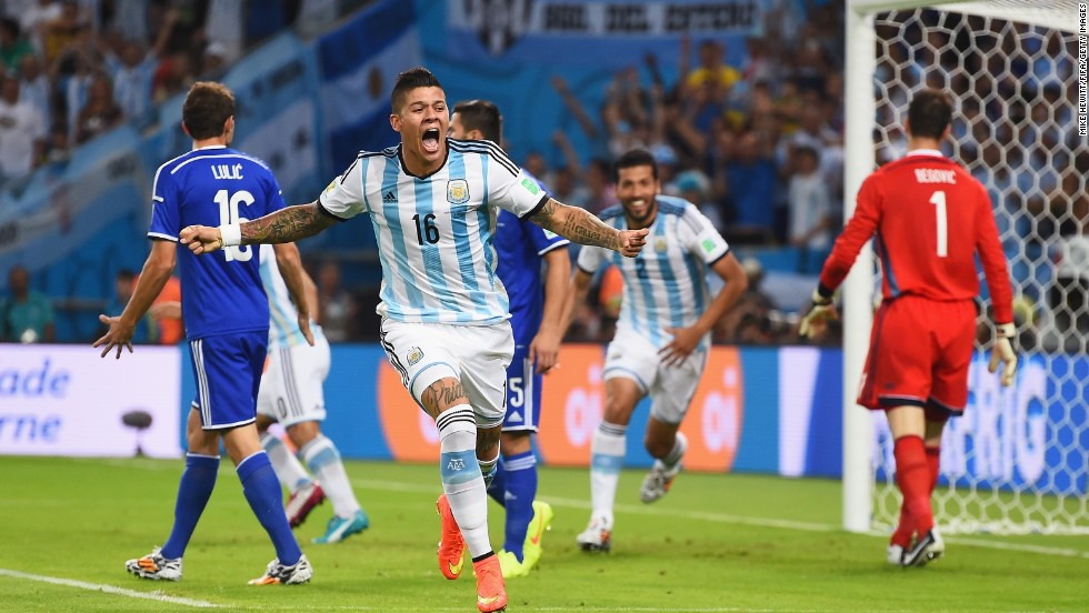 Argentina's Marcos Rojo celebrates after Sead Kolasinac of Bosnia-Herzegovina scored an own goal in the early minutes of the game.
