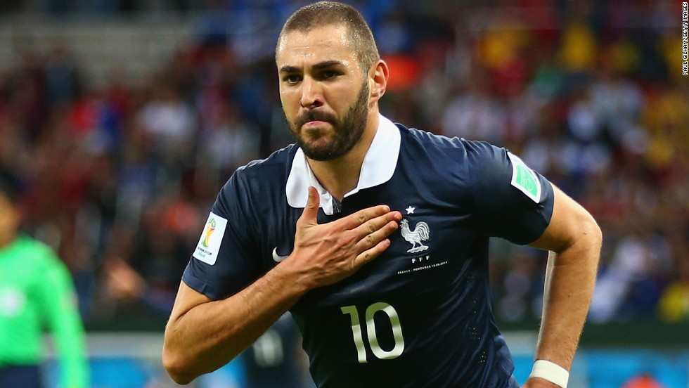 Karim Benzema has played 81 times for France and is pictured  celebrating after scoring his team's third goal during the World Cup Brazil Group E match against Honduras at Estadio Beira-Rio on June 15, 2014 in Porto Alegre, Brazil.