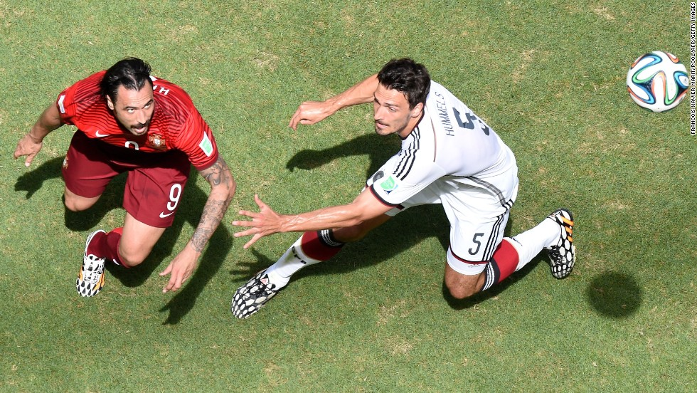 Hummels, right, is challenged by Portugal forward Hugo Almeida.