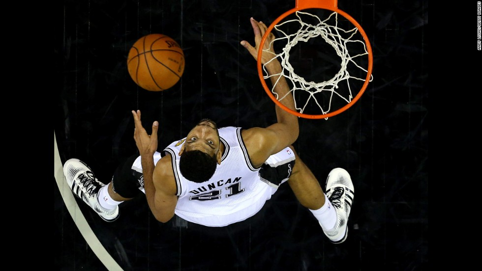San Antonio's Tim Duncan looks for a rebound during Game 5 of the NBA Finals on Sunday, June 15.