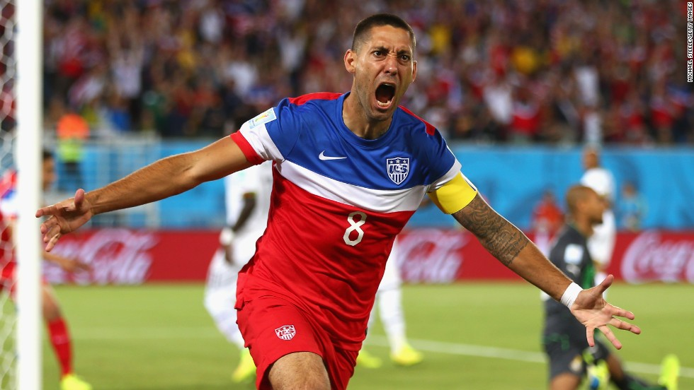 Clint Dempsey of the United States reacts after scoring in the first minute of the Ghana match.