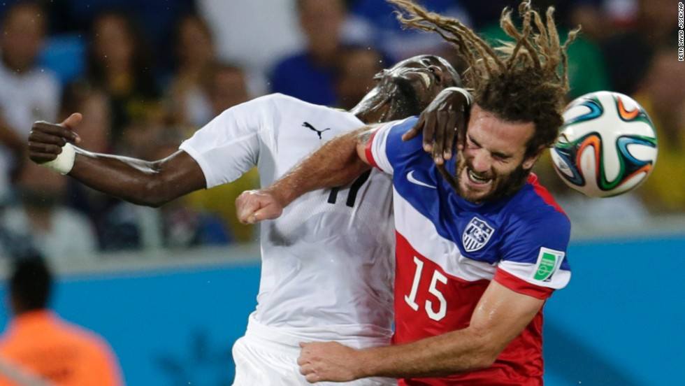 Ghana's Mohammed Rabiu collides with Beckerman in the first half.