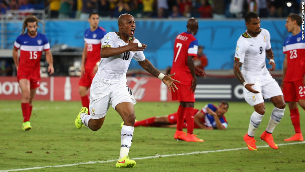 Andre Ayew of Ghana celebrates after scoring a second-half goal to tie the United States.