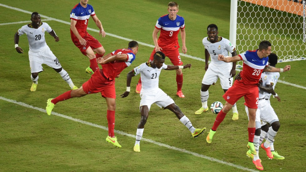 Brooks, third from left, directs his header down as he scores against Ghana. Brooks came into the game after halftime, as a substitute for an injured Matt Besler. With his goal, he became the first American sub to score in a World Cup.