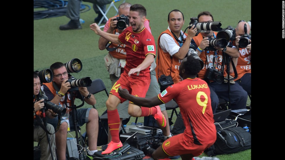 Belgium's Dries Mertens celebrates after scoring his team's second goal against Algeria during a match in Belo Horizonte, Brazil. Belgium won 2-1 after trailing 1-0 at halftime.