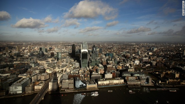 "LONDON, ENGLAND - JANUARY 27: Commercial buildings including The Walkie Talkie, The ""Cheesegrater"" and the ""Pinnacle"" from the skyline of the City of London, seen from the View from The Shard on January 27, 2014 in London, England. A study has found that one in three 22-30 year olds are leaving their hometowns to move to the capital, which creates ten times as many private sector jobs as any other city."
